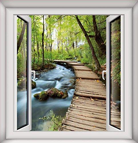 QTT Lassen Sie das Fenster und Emulation Fenster Wall Sticker 3 Schlafzimmer Wohnzimmer stereo landschaft wald Blick auf den Park, 75 * 80 cm, ein