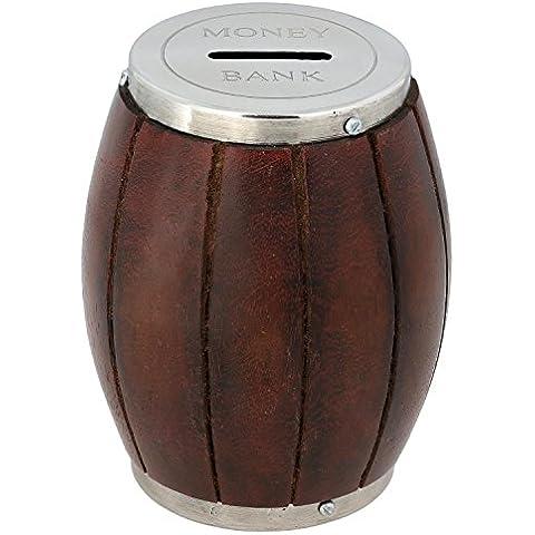 Banco de madera de dinero - caja de dinero de la moneda hecha a mano barril para niños y adultos decoración - alcancía retro bancaria - 11,4 cm de diámetro