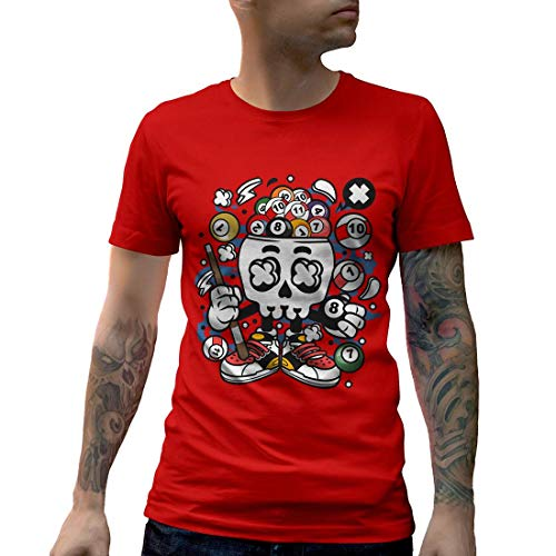 C025MCNTR Herren T-Shirt Billiard Skull Sport Snooker Pool Master World Cue 8 Ball Table Classic Vintage(Small,Red)