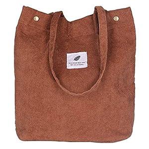 Funtlend Handtasche Damen groß Cord Tasche Damen Handtasche Shopper Damen für Uni Arbeit Mädchen Schule (Beige)
