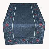 Raebel Tischläufer grau kurz 40 x 85 cm Weihnachten Tischdecke Stern rot modern Deko Weihnachtsdeko Weihnachtstischdecke
