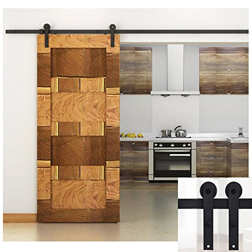 Preisvergleich Produktbild Hahaemall 5FT / 60 Hahaemall 5FT / 60 Modern Country Single Steel Sliding Barn Wood Door Hardware Antique Roller Black Track Rail Wheel Kit by Hahaemall