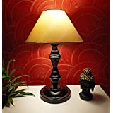 VRCT Classic Off-White Khadi Conical Shade and Beautiful Black Base Table Lamp for Bedroom and Drawing Room, Table Lamp (Size: 40 x 26 x 15 cm)