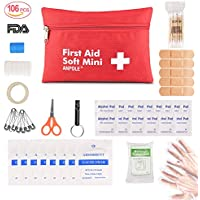 First Aid Kit, Outdoor Emergency Kit Bag 106 Pcs Small First Aid Portable Travel Bag Medical Essentials Perfect for Home, Car, Camping, Office, Boat, Hiking, Sports, and Traveling