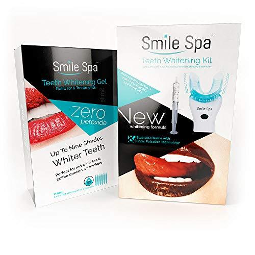 Smile Spa Wiederverwendbares Zahnbleaching Set mit 8 Anwendungen   Zahnaufhellung Schonend I Zahnaufhellungs-Set Home Bleaching Kit Whitening Gel Zähne-Bleaching Ohne Peroxid -
