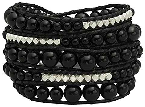 Genuine Stones 5 Wrap Bracelet - Bangle Cuff Rope With Beads - Unisex - Free Size Adjustable (Black
