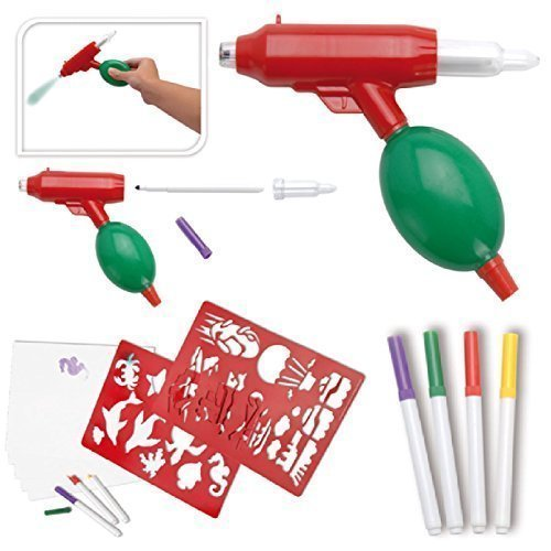 Preisvergleich Produktbild Airbrush Set Luft Aufblasbar Pumpe Rasierpinsel Waffe Schablonen Stifte Kreativspielzeug Zeichnung Ausmalen Bemalen Spiel Farbe Handwerk Kunst Set