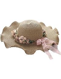Fletion da Donna Elegante Onda Corona Coneflower Wide Bordo Cappello di  Paglia Spiaggia Cappello Estate Sole Cappelli Spiaggia Cappello… 05ea7dce6857