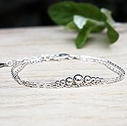 Bracelet perles dégradées en argent massif 925 sur chaine double