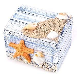 Garosa Hölzerne Schatztruhe mediterranen Stil Schmuck Pralinenschachtel tragbare kleine Aufbewahrungskoffer für Hochzeit…