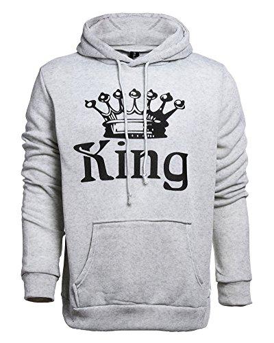 Tomwell Hombre Y Mujer Moda King Queen Impresión Sudaderas con Capucha  Manga Larga Pullover Camisas Jersey 89f91576138
