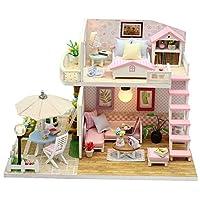 Zerodis. 3D Princess Cabin Hand-assembled House, Wooden Miniature Handmade Dolls House Handcraft Bedroom Furniture Dollhouse for Children Birthday Gift