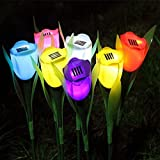 Solar Energy LED Garden Lamp Outdoor Courtyard Colourful Flower Tulip Landscaping Lawns and Grasses Pack of 6