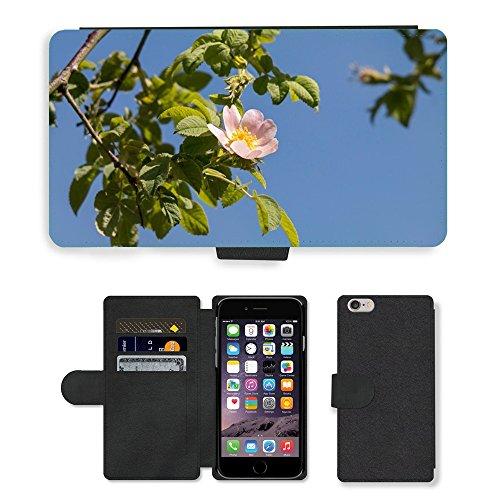 Just Mobile pour Hot Style Téléphone portable étui portefeuille en cuir PU avec fente pour carte//m00140236Rose Hip Rose sauvage fleur tampon ciel//Apple iPhone 6Plus 14cm