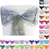 TtS 100pcs 22x280cm Organza Sashes Chair Cover Bows Sash Wider Sashes Fuller Bow Banquet Wedding Party Decoration #4 Silver Grey