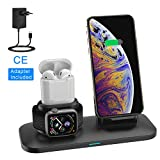 Chargeur sans Fil pour iPhone iWatch, Chargeur Charge Qi Portable Chargeur Station pour iPhone XS/XS Max/XR/X/8/8Plus, Samsung Galaxy S9/S9 Plus/Note 8/S8/S8 Pluspour Airpods Watch Series 4, 3, 2, 1