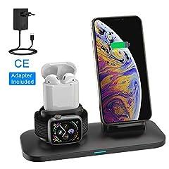 Idea Regalo - Supporto Caricabatterie Wireless 3 in 1 Caricatore Stand per Apple Watch, Qi wireless caricatore supporto di ricarica wireless docking station per Airpods iPhone X/8 Plus/XS MAX/XR Iwatch 4/3/2/1