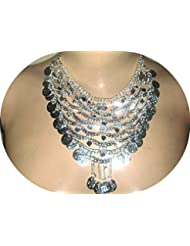 Collar de la danza de vientre del baile de la moneda de la aleación de plata de la manera plateado de la vendimia ( Plata 3)
