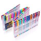 Nosii 60/100 farbige Gelschreiber Set Glitter Pens mit Etui für Erwachsene Malbücher (Keine Duplikate) (Color : 100 Count)