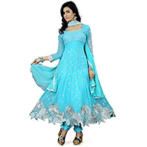 S R Fashion Women's Georgette Semi-Stitched Salwar Suit (S R – 011, Sky Blue)