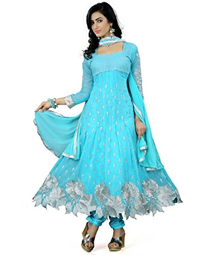 S R Fashion Women's Georgette Semi-Stitched Dress Material (S R – 011, Sky Blue)