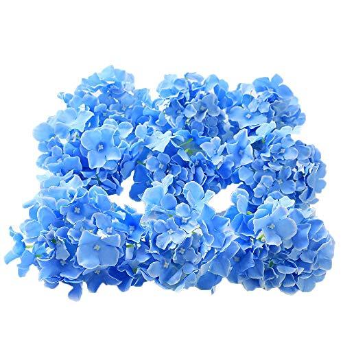 Veryhome Blooming Seiden-Hortensien, Blumenköpfe für selbstgemachte Blumensträuße, Aufsteller zu Hochzeiten, Heimdekor himmelblau