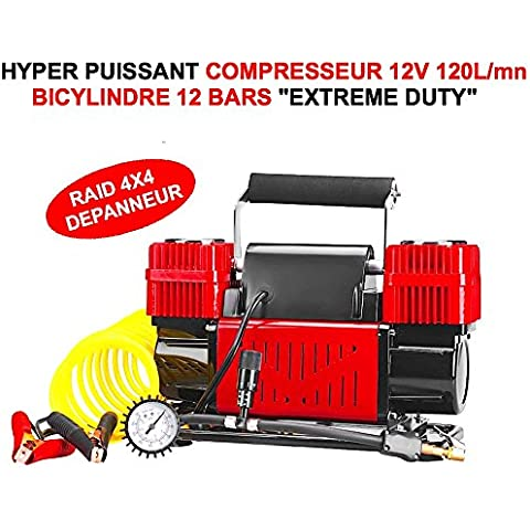 Hyper Puissant 2cilindros Compresor bicylindre 12V 120L/MN Indestructible Hyper Robuste Compact facile a empotrar. Caja y accesorios apantalladas. Raid Preparation 4x 4