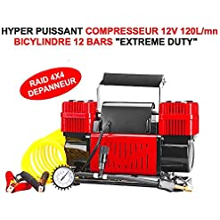 Extreme Duty 120L/mn 10 bar bicylindres. Hyper potente Compressore 12 V. Indestructible Hyper robusto facile ha incasso. Borsa e Accessori Inclusi. 4 x 4 RAID Trial Quad Cross HCV Rally auto moto camion camper Sirene Clacson Outillage accessori Scooter youngtimers Barca Marino lcm0817