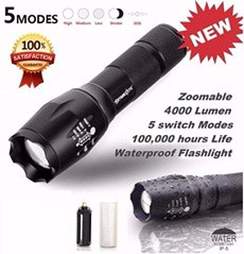 Mitlfuny 3000 Lumen 3 Modi CREE XML XPE LED 18650 Taschenlampe Lampe Leistungsstark ideal für Camping, Wandern und Spaziergang mit Hunde (A)