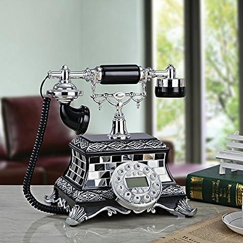 25 * 24 * 26cm antico decorativo di mosaico creativo resina retrò fisso telefono fisso, telefono antico elegante set ornamenti decorativi