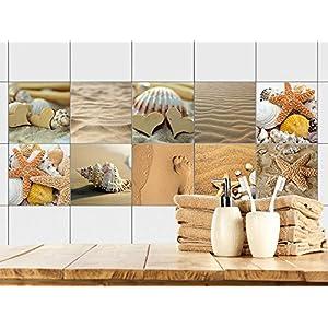 GRAZDesign 770357_15x15_FS10st Fliesenaufkleber Bad   Fliesen Zum Aufkleben  Muscheln Sand Und Strand | Fliesen Mit Fliesenbildern