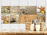GRAZDesign 770357_15x15_FS20st Fliesenaufkleber Bad - Fliesen zum Aufkleben Muscheln Sand und Strand | Fliesen mit Fliesenbildern überkleben | 10 Motive | selbstklebende Folie für Badezimmer (15x15cm // Set 20 Stück)