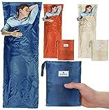 NEU - travilo Hüttenschlafsack aus Mikrofaser | ultraleichter Sommerschlafsack (nur 180g) | kompakter und dünner Innenschlafsack | ideal für Campings, Hostels und Hütten für die perfekte R