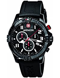 Wenger Squadron Men's Chronograph Watch with Black Dial and Black Silicone Strap 77053
