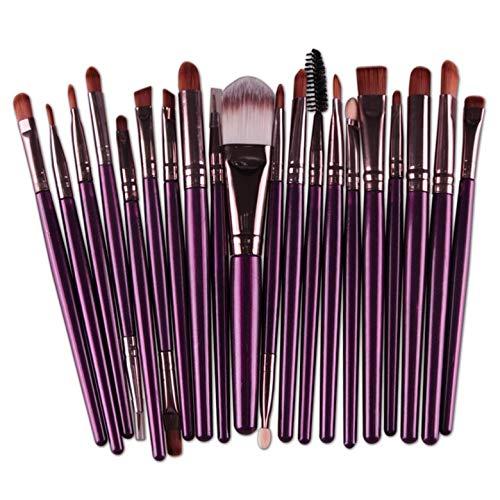 20pcs pinceaux de maquillage couleur graduée brosse de base en poudre de pinceau de diamant - violet et café