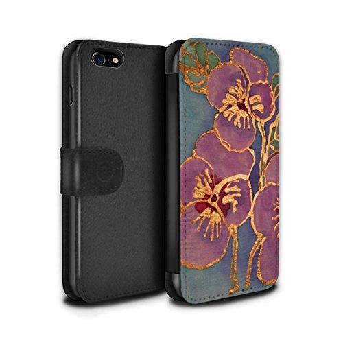 Stuff4 Coque/Etui/Housse Cuir PU Case/Cover pour Apple iPhone 8 / Rouge Design / Effet de soie Floral Collection Violet/Bleu