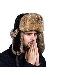 Targogo Sombrero De Aviador Unisex Para Hombre Para Piel Ocasional Mujer De Conejo Sombrero De Bombardero Ruso Invierno Cálido Sombrero De Piel Adulto