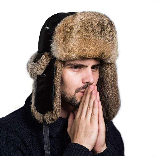 Bomber Classic Hut (HX fashion Fliegermütze Unisex Herren Damen Mit Kaninchenpelz Russisch Bomber Classic Hut Winter Warme Erwachsene Fellmütze Kleidung (Color : Braun 1, Size : One Size))