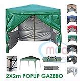 MCC @ Home Premier 2x 2m vert Auvent imperméable pop-up Store Chapiteau Tente de fête avec couche de protection Argenté vert