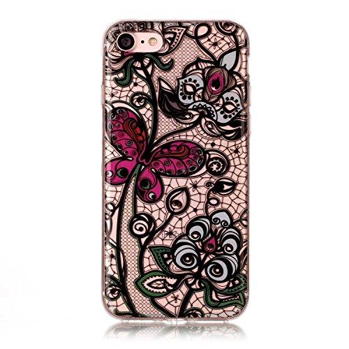 Glitzer Hülle Für iPhone 7,Transparent Hülle Für iPhone 7 Clear Glitzer Liquid Crystal Hard Case,EMAXELERS iPhone 7 Hülle Blumen,iPhone 7 Hülle Flamingo,iPhone 7 Hülle Bling Glitzer Cristal 3D Kreativ R Butterfly Flower TPU 5