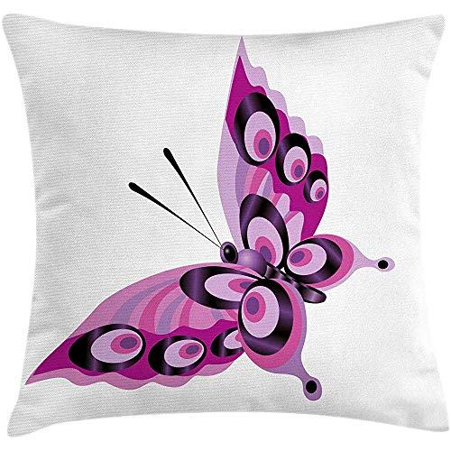 Pamela Hill Funda de cojín cojín púrpura, Mariposa Individual con Detalles Circulares, Magenta Malva...