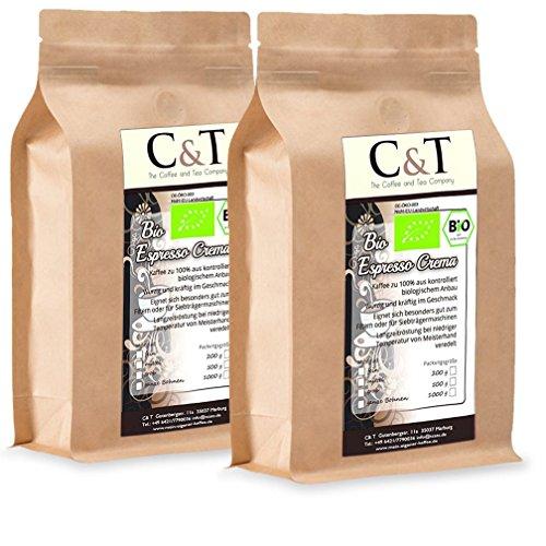 C&T Bio Espresso Crema | Cafe 2 x 1000 g ganze Bohnen Gastro-Sparpack im Kraftpapierbeutel Kaffee für Siebträger, Vollautomaten, Espressokocher