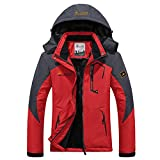 GWELL Damen Skijacke Wasserdicht Winddicht Funktions-Outdoorjacke mit Fleece Innenfutter rot 3XL