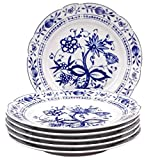 Kahla 17G108A72067U Zwiebelmuster blauweiß Tellerset für 6 Personen Porzellan 6-teilig Speiseteller Blumendekor flach Teller rund Essteller