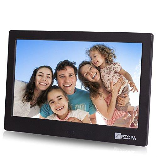 Arzopa cornice foto digitale 10 pollici hd ips, 16:9 wide schermo digital frame supporto mp3 mp4 musica video display sveglia calendario orologio con telecomando
