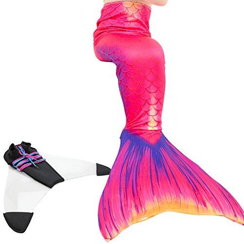 Play Tailor Mädchen Gemalt Meerjungfrau Kostüm Meerjungfrauenschwanz für Kinder Schwimmen mit Meerjungfrau Flosse (152-164 cm)
