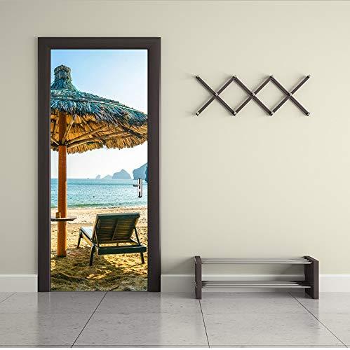 Mengyun Store Tür Aufkleber Europäischen Stil Strandkorb Regenschirm 3D DIY Selbstklebende Tür Aufkleber Für Arbeitszimmer Schlafzimmer Dekor 90X200 cm