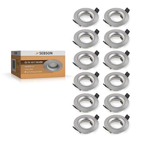 SEBSON Einbauleuchte silber / Einbaustrahler (LED / Halogen), 12er Pack