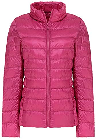 Mochoose Women's Winter Down Puffer Jacket Coat Packable Ultra Light Weight(Rose Red,X-Small)