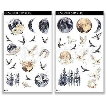 Deko Aufkleber – handgezeichnet – Thema Mond und Eulen – Planner Stickers 044